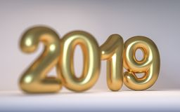 金黄与景深的数字新年2019年 3d回报 免版税库存照片