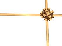 金黄丝带和弓 免版税图库摄影