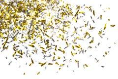 金黄五彩纸屑照片在白色背景的 库存照片