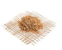 金黄亚麻籽 在黑森州的织品,被隔绝的白色bac的五谷 库存照片