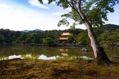 金黄亭子的寺庙或金黄寺庙,也叫作kinkaku ji在京都,日本反射落日 库存图片