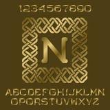 金黄优美的信件和数字与最初的组合图案在装饰方形的框架 向量例证