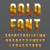 金黄光滑的向量字体或金子字母表 金子字体 金属字母表印刷例证 向量例证