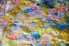 金黄冲程蓝色桃红色抽象纹理,蜡状的抽象背景,水彩生动的背景,纹理 库存图片