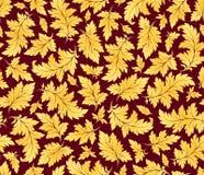 金黄叶子仿造无缝的向量 免版税库存图片