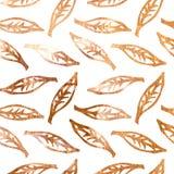 金黄叶子剪影的无缝的样式 向量例证