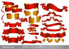 金黄和红色丝带设置了 免版税库存照片