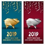 金黄和银色猪作为农历新年的标志2019年 皇族释放例证