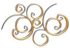 金黄和银色金属装饰品, 3d例证 免版税库存图片
