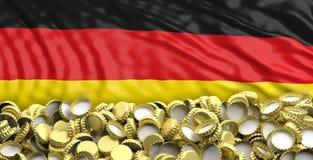 金黄啤酒加盖在德国旗子backgroun的堆 3d例证 免版税库存照片