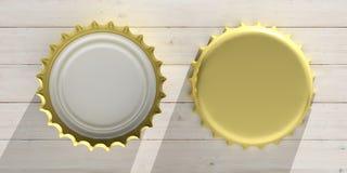 金黄啤酒盖帽前面和后面看法,隔绝在木背景,顶视图 3d例证 免版税库存图片