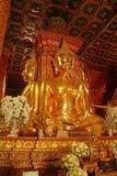 金黄四方的供以座位的菩萨图象垂直的照片在Wat Phumin寺庙,楠府,泰国的 免版税库存图片