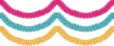 金黄圣诞节传统的装饰,桃红色,蓝色闪亮金属片 Xmas丝带诗歌选隔绝了重复边界的装饰元素 库存图片