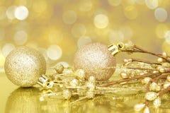 金黄圣诞节场面 图库摄影