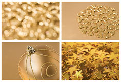金黄圣诞节套背景 库存图片