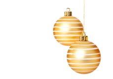 金黄圣诞节球 库存图片