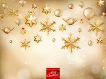 金黄圣诞节的装饰 10 eps 库存图片