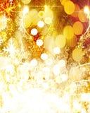 金黄圣诞节装饰 免版税库存图片