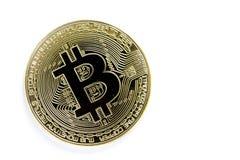 金黄在白色背景隔绝的bitcoin真正硬币 库存图片