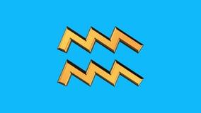 金黄在蓝色背景新的质量独特的生气蓬勃的动力学的宝瓶星座黄道带标志转动的动画无缝的圈 皇族释放例证