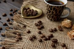 金黄壁炉边型茶碟用烤咖啡豆 免版税库存图片