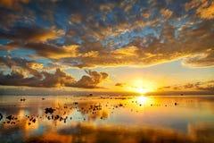 金黄壮观的日落 库存照片