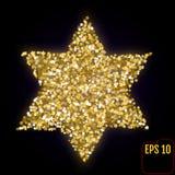 金黄大卫王之星在黑色隔绝了 金子担任主角五彩纸屑 库存照片