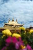 金黄屋顶和花 库存图片