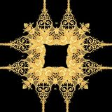 金黄巴洛克式的金子和黑白色围巾样式 向量例证