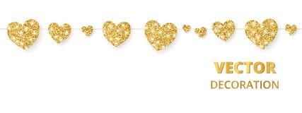 金黄心脏框架,无缝的边界 在白色隔绝的传染媒介闪烁 对华伦泰和母亲节的装饰 皇族释放例证