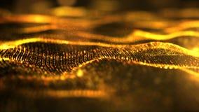 金黄抽象波浪微粒 图库摄影