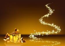 金黄抽象的圣诞节 皇族释放例证