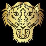 金黄日本老虎头纹身花刺设计传染媒介 免版税图库摄影