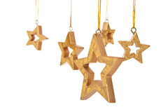 金黄星形圣诞节装饰 库存照片