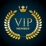 金黄月桂树花圈和VIP成员文本 传染媒介邀请设计模板 向量例证