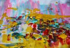 金黄桃红色水彩背景,蜡状的抽象纹理 免版税库存照片