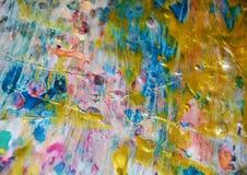 金黄桃红色蓝色闪耀的背景,水彩生动的背景,纹理 库存图片