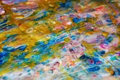 金黄桃红色银色冲程提取纹理,蜡状的抽象背景,水彩生动的背景,纹理 库存图片