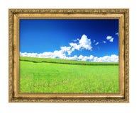 金黄框架和有福的归档的视图 免版税库存照片