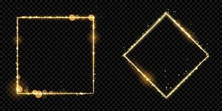 金黄框架金子闪烁光微粒导航正方形闪耀的黑背景 库存例证