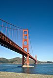 金黄桥梁的门 库存图片