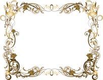 金黄棕色用花装饰的框架 免版税库存照片