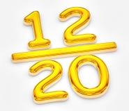 金黄比分十二出于二十例证 库存例证