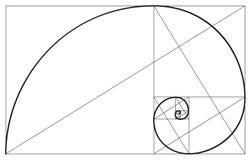 金黄比率螺旋标志 库存例证