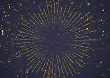 金黄爆炸在黑暗的背景的减速火箭的样式破裂了 免版税图库摄影