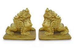 金黄狮子雕塑  库存图片