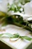 金黄环形婚礼 库存照片