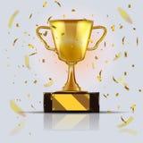 金黄现实冠军杯 3d例证向量 与闪烁的五彩纸屑微粒的战利品 库存例证