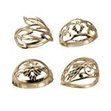 金黄珠宝环形设置了 免版税库存照片