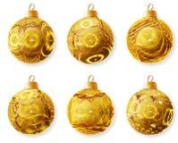 金黄球的圣诞节 库存图片